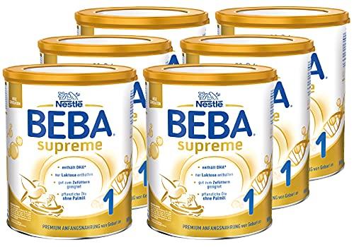 Nestlé BEBA SUPREME 1 Anfangsnahrung: von Geburt an, Pulver, mit Omega 3, 6er Pack (6 x 800g)