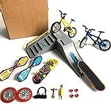Mini Finger Boards Set, Finger Skateboard Park Ramp Toys, Simulation Bike + Finger Skateboard + Scooter + Dynamic Board + Spare Tire (A)