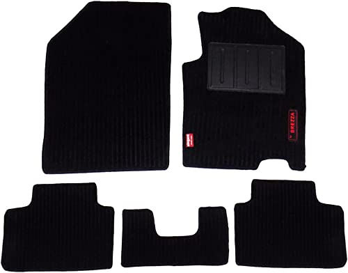 Elegant Cord Carpet Car Mats (Black, Maruti Brezza)