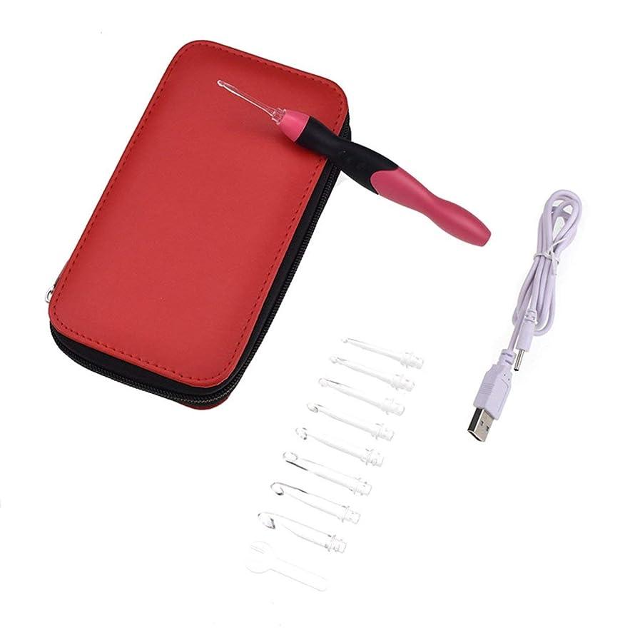 中級香港泣くSaikogoods USB充電式 ライトアップかぎ針編みのフックセット 収納袋付き9つの交換可能チップ LEDニッティング ソーイングクラフトツール 赤 黒