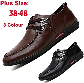 Luxury Brand Men's Casual Business Genuine Leather Comfortable Shoes Italian Designer Male Soft Driving Shoes Plus Size 38-48(US6.5,Brown)
