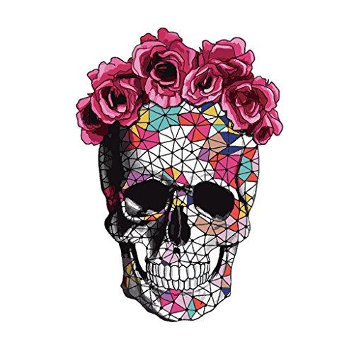 Parches de calavera de flores Hergon, pegatinas de transferencia de calor, pegatinas de bricolaje para planchar sobre ropa, apliques, decoración