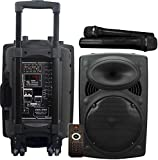Vocal-Star Portable PA Speaker System with Bluetooth, Bass & Treble, USB & Aux Input for MP3, 12' 300w & 2 Wireless Microphones (VS-P120)