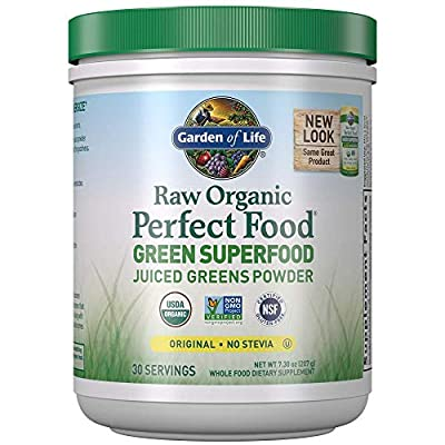 Garden of Life Raw Organic Perfect Food Green Superfood Juiced Greens Powder, Plant Based Dietary Supplement - Original Stevia-Free, 30 Servings (Packaging May Vary)