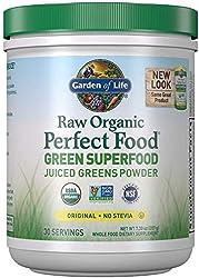Garden of Life Raw Organic Perfect Food Green Superfood Juiced Greens Powder - Original Stevia-Free,