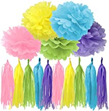 Bobee Pastel Party Decorations 30 Pieces of DIY Paper Pom Poms and Tissue Tassels in Pink Yellow Blue Green and Purple