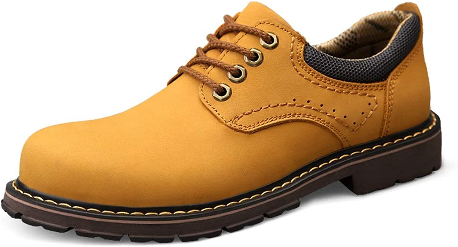 Suede Leather Strong Antislip Round Toes Work Boots for Men Breathable Safety Low Top shoes (color   Yellow, Size   10 D(M) US)