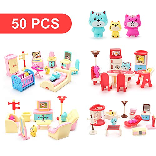 50 Pack Kids Little Dollhouse Furniture Toys House Big Dreams for Baby Children Girls Boys Age 3+