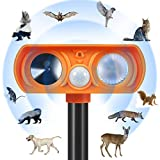 Petwudi Ultrasonic Dog Chaser,Orange Animal Deterrent with Motion Sensor and Flashing Lights Outdoor Solar Farm Garden Yard Repellent,Dogs, Cats, Birds
