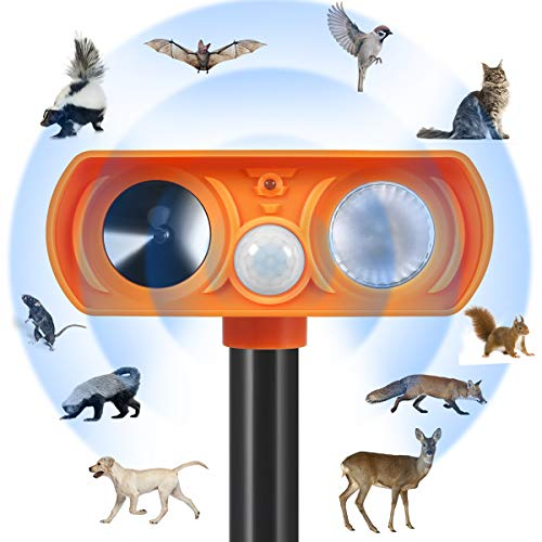 Zomma Dog Cat Repellent, Ultrasonic Animal Repellent with Motion Sensor and Flashing Lights Outdoor Solar Powered Waterproof Farm Garden Yard Repellent, Cats, Dogs, Foxes, Birds,Rod,Chipmunk,Deer