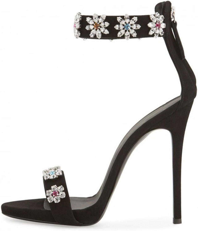 Nansay Women's shoes Big Size Rhinestones Flower High Heels Peep Toe Lady shoes Ankle Strap Zipper Pumps