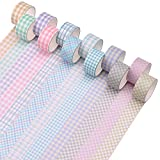 Washi Tape Set 12 Rollos de Washi Masking Cinta 20mm x 2m Cinta Washi de Cuadrícula Decorativa Ancha para Manualidades Cinta Washi Pastel para Álbum de Recortes Cinta Washi Básica para Envolver DIY A