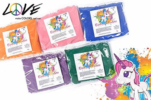 Love Colors EINHORNPULVER - Regenbogen Set - Holi Gulal Farb Pulver - 5 x 75g Beutel / wasserfeundliches Farbpulver / auch für Indoor / wasserlöslich, leicht auswaschbar