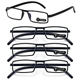 TERAISE 4-Pack Upgrade Reading Glasses Ultralight Reader Anti-blue Glasses +200