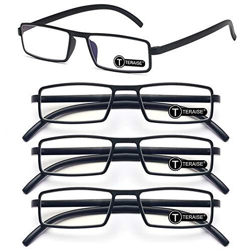 TERAISE Upgrade Blaulicht blockierende Lesebrille 4er-Pack Kompakt- / Leichtgewicht-Lesebrille Anti-Stress-Computer- / Handybrillen(1.0X)