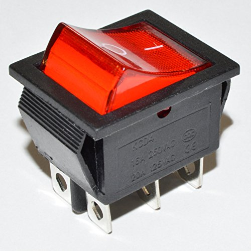 bvpow on off rojo LED Luz Iluminado Rocker Interruptor, KCD4DPDT 6pines 2Posición AC 20A 125V/16A 250V con slivering puntos de contacto