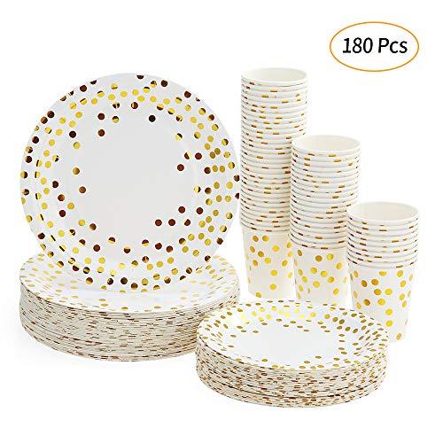 Platos Desechables y Vasos Cumpleaños, Juego de 180 Piezas Vasos de Carton y Plates con Patrón Dorado - 60 Vasos de Papel 270ml - 60 Platos de Postre 7