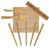 Kit Para Hacer Sushi En Casa - Sushi Kit de Bambú Completo con 2 Esterillas de Bambú para Sushi, 1 Paleta de Arroz, 1 Esparcidor de Arroz, 5 Pares de Palillos - Bamboo Sushi Maker Set - Kit para Sushi