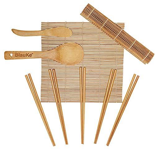 BlauKe Kit À Sushi Complet, 9 Pièces Sushi Maker Kit en Bambou - 2 Tapis À Sushi en Bambou, Épandeur E Spatule À Riz, 5 Paires De Baguettes - Natte À Sushi en Bambou - Set Rouleau A Sushi Et Maki