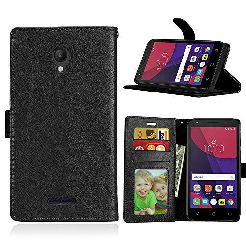 Wenlon Handy PU Hülle für Alcatel Pop Star 3G (5.0) OT5022D, Hochwertige Business Kunstleder Flip Wallet Handyhülle mit Card Slot Funktion, Bracket Funktion - Schwarz