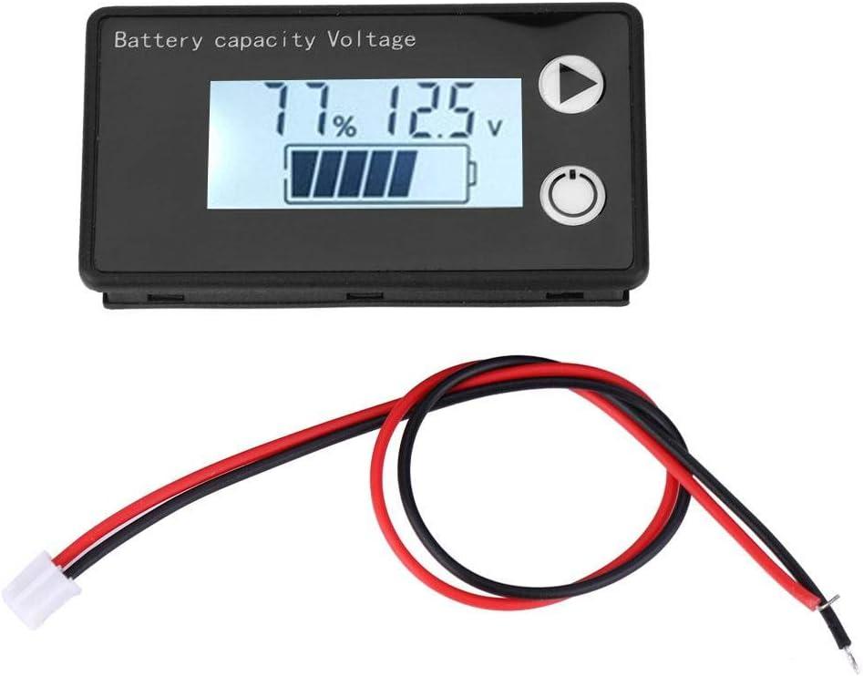 Battery Monitor LCD 12V Digital Battery Capacity Tester Lithium Battery Universal Percentage Display Voltmeter Voltage Indicator ((10-100V) white + alarm)