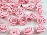 60pcs Satin Ribbon Flower Rose/Trim/Sewing (Pink)