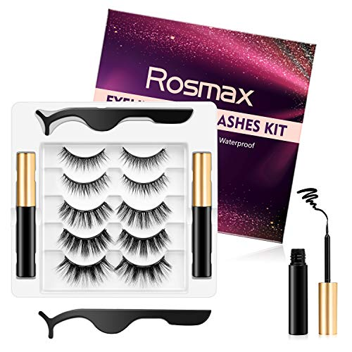 Magnetic Eyelashes and Eyeliner Kit, Rosmax 3D Reusable Natural Look Magnetic False Eyelashes Kit with Tweezers, No Glue Needed Waterproof Magnetic Eyeliner Kit with 2 Tubes (5 Pairs)