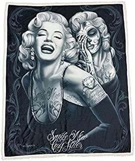 DGA Marilyn Monroe High Defenition Super Soft Plush Micro Sherpa Blanket 50x60 Inches - Smile Now Cry Later