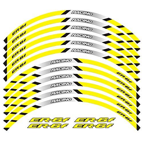 Motos Calcomanías Equipo de Carreras de Motocicletas Accesorios Accesorios Rueda Neumático Rim Decoración Adhesiva Reflexivo Pegatina para ER-6F ER6F Pegatinas (Color : 240107)