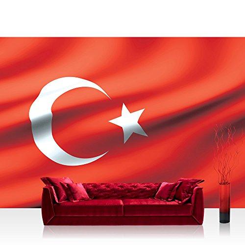 Fototapete 368x254 cm PREMIUM Wand Foto Tapete Wand Bild Papiertapete - Geographie Tapete Flagge Fahne Türkei Mond Stern rot - no. 2310