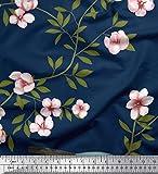 Soimoi Blau Samt Stoff Blätter, Blumen & Taube Vogel Stoff