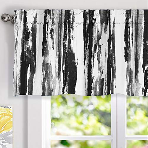DriftAway Paint Brush Watercolor Ink Stripe Pattern Thermal Insulated Blackout Window Curtain Valance Rod Pocket 2 Layers 52 Inch by 18 Inch Plus 2 Inch Header Black Gray 1 Pack