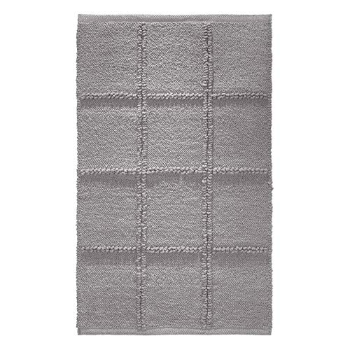 Price comparison product image iDesign Grid Bathroom Mat,  Rectangle-Shaped Small Rug Made of Cotton,  Grey,  53.3 cm x 86.4 cm