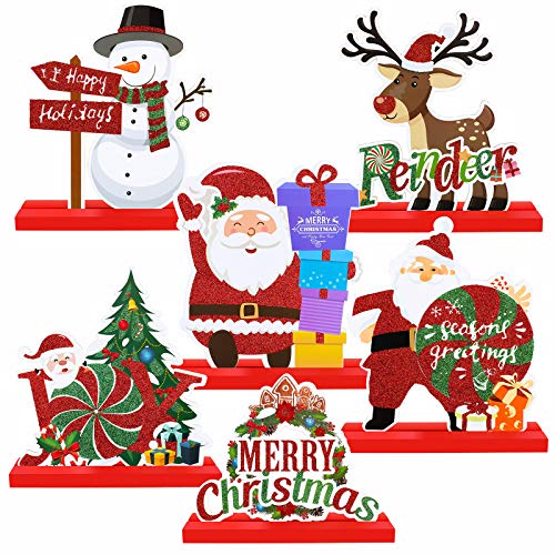 ADXCO 6 Pack Christmas Table Decorations for Dinner Party Coffee Table Santa Snowman Reindeer Merry Christmas Happy Holidays Centerpiece Boutique