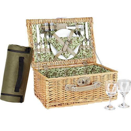 Set Cestino da Picnic Willow 2P con Fodera Floreale, Cesto da Picnic con Coperta da Picnic, Bicchieri da Vino, Piatti in Ceramica, Posate e tovaglioli, per Compleanni, Matrimoni