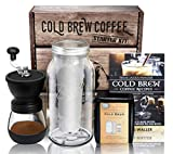 Cold Brew Coffee Maker Starter Kit - Half Gal Mason Jar | Stainless Filter Basket | Ceramic Burr...