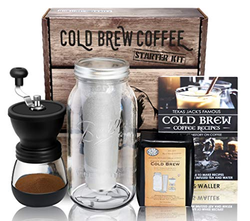 Cold Brew Coffee Maker Starter Kit - Half Gal Mason Jar | Stainless Filter Basket | Ceramic Burr Coffee Grinder | Half Pound Certified Organic Whole Bean Cold Brew Coffee Blend | Recipe & Instruction Book