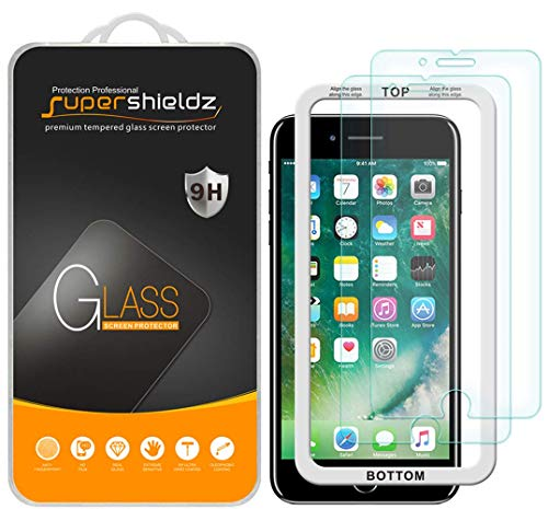 (2 Pack) Supershieldz for Apple iPhone 6S Plus and iPhone 6 Plus (5.5 inch) Tempered Glass Screen Protector with (Easy Installation Tray) Anti Scratch, Bubble Free