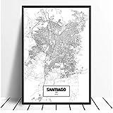 Zhaoyangeng Santiago Chile - Póster de mapa de la ciudad del mundo (50 x 70 cm)