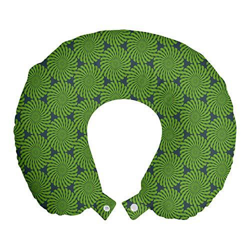 ABAKUHAUS Abstrakt Reisekissen Nackenstütze, Whirlpool Runden, Schaumstoff Reiseartikel für Flugzeug und Auto, 30x30 cm, Dunkle Teal und Farn-Grün