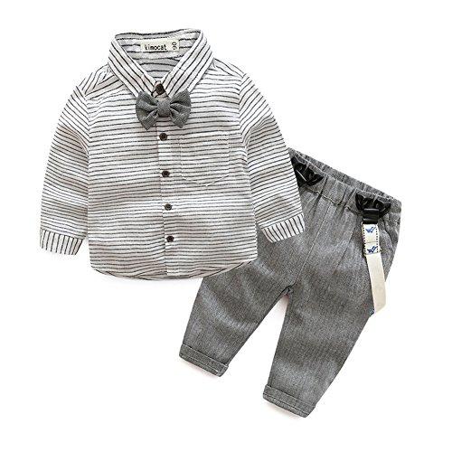 Das beste Kinder Baby Kleinkind Jungen Gentleman Baumwolle mit Ärmeln Herbst Kleidung des Babys Taufe Hochzeit Weihnachten Sakkos Anzüge Hemd (0-24M)