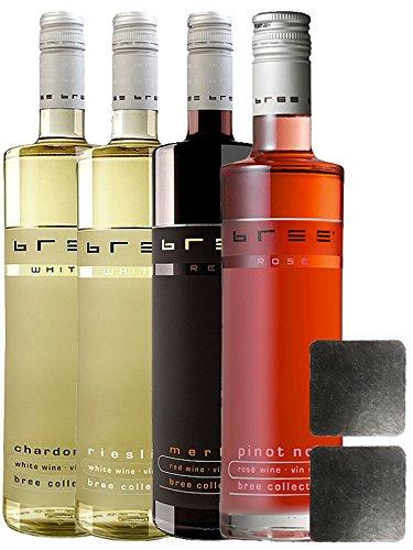 Bree Wein alle 4 Sorten jeweils 1 Flasche + 2 Schieferuntersetzer quadratisch ca. 9,5 cm