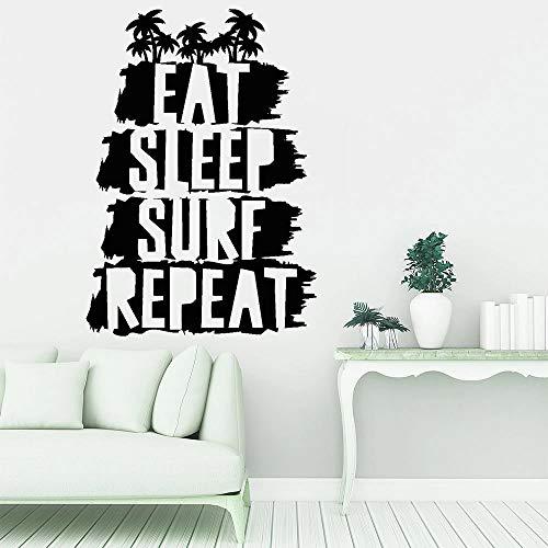 Pegatinas de pared divertidas comer dormir surf pegatinas de pared de vinilo playa decoración del hogar sala de estar habitación de adolescente