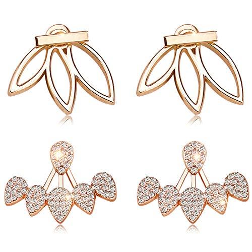Suyi Mode Hohl Lotus Blume Ohrringe Kristall Einfach Schick Ohrringe Set BG