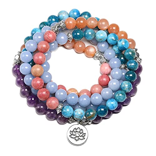 GaYouny Piedra Natural 108 Mala Pulsera para Hombres Apatite Sarstone 8mm Beads Bracelets Mujeres Yoga Meditación Encanto Joyería Loto (Color : Lotus)
