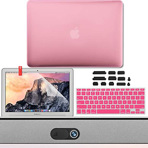 GMYLE MacBook Air 13 Inch Case Kit A1466 A1369 2010 2017, Privacy Webcam Cover, Anti Dust Plugs, Keyboard Cover and Screen Protector 5 in 1 (Pink)
