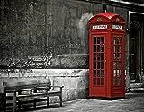 TISAGUER 5D Diamante Pintura por Número Kit,Famoso teléfono británico Boot en las calles de Londres Icono importante de la ciudad Foto de vida urbana,Bricolaje Diamond Painting kit completo Bordado