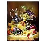 genrics Regalo para Adultos O Niños Kit Manualidades - Pintura por Número De Kit Decoraciones para El Hogar DIY - Fruta Melocotón Aladdin Flor Paisaje