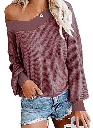 Odosalii Damen Pullover V-Ausschnitt Schulterfrei Strickpullover Langarmshirt Sexy Oberteile Oversize Tops, Dunkelrosa, L