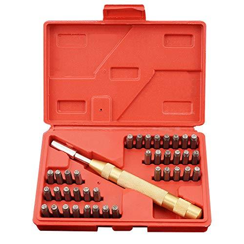 38 stks Nummer en Letter Punch Set, Duurzame Staal Letter en Nummer Stempel Set met Automatische Punch voor Stempelen Nummers & Letters op Zacht Metaal Hout Leer - Hoofdstad Alfabet A-Z en Nummer 0-8